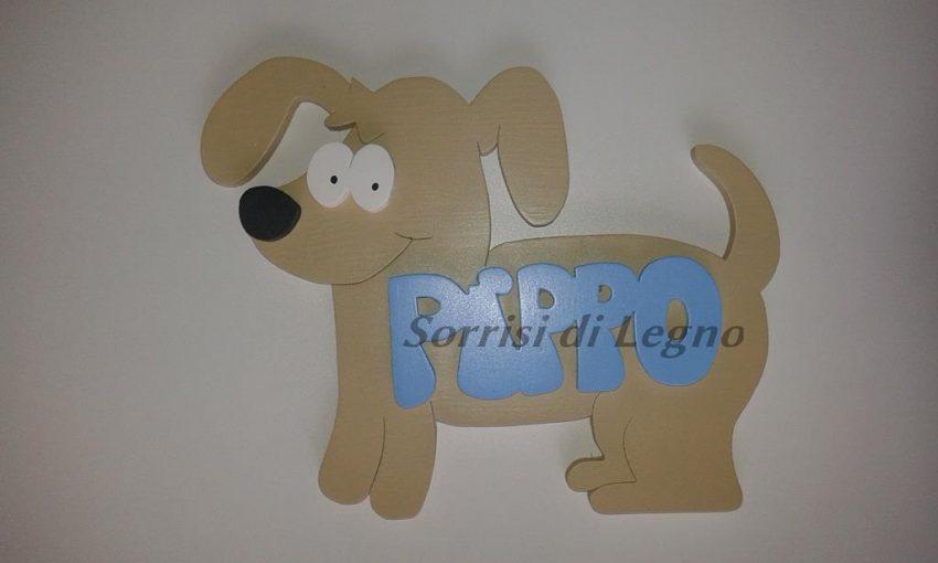 Targa con cane in legno con nome pippo