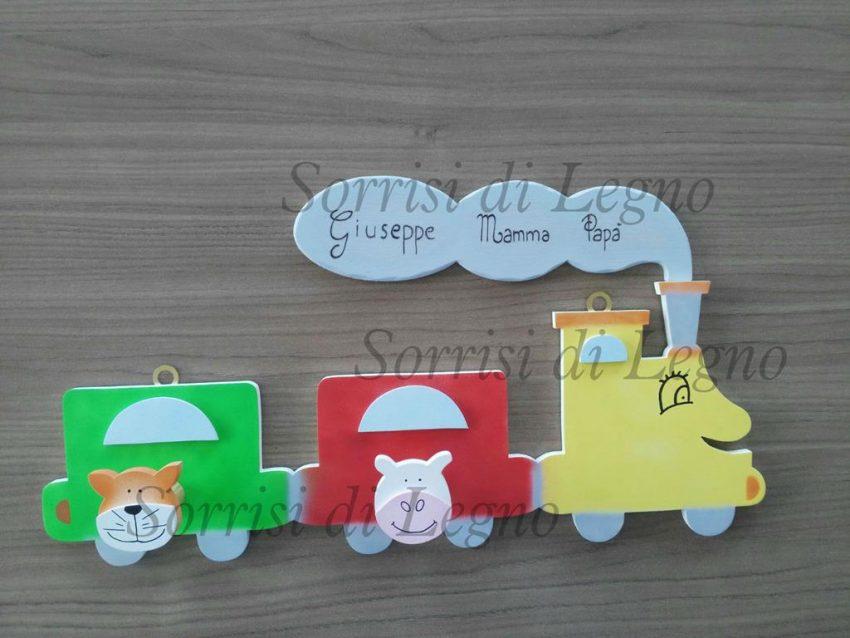Appendino in legno colorato con fumo della locomotiva