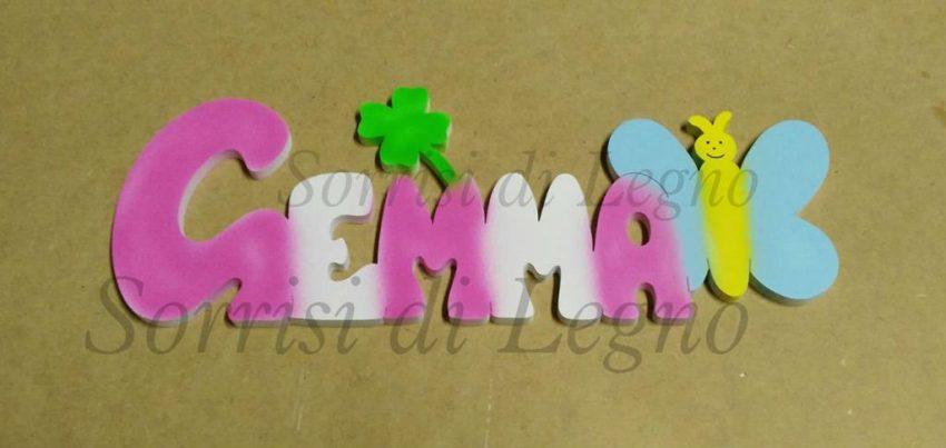 nome-Gemma-con-farfalla-azzurra-e-quadrifoglio