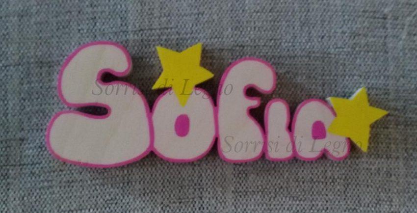 Nome-Sofia-con-due-stelle-in-betulla