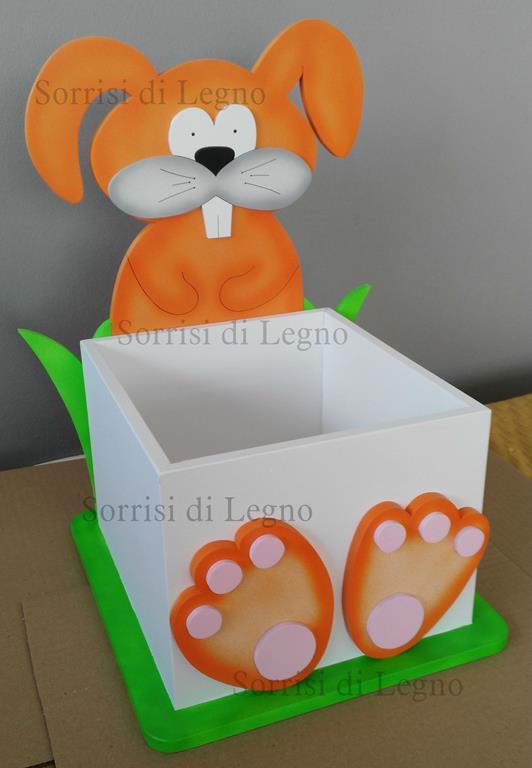 Coniglio con scatola in legno porta oggetti