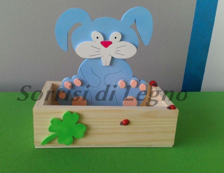 Coniglio porta cioccolatini azzurro con scatola sorrisi di legno - Porta tisane fai da te ...