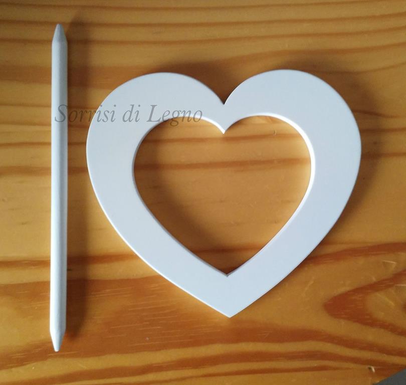 Fermatenda cuore in legno bianco sorrisi di legno - Oggetti in legno per la casa ...