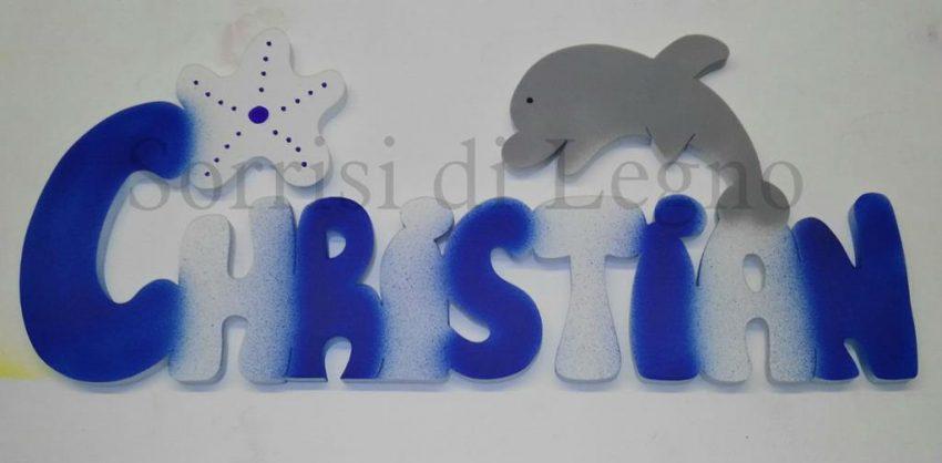 nome-Christian-con-delfino-e-stella-marina-bianco-e-blu