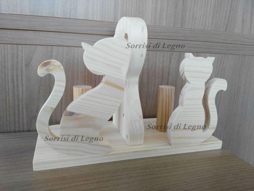 Porta bicchieri doppia fila in legno naturale coppia di for Bicchieri in legno
