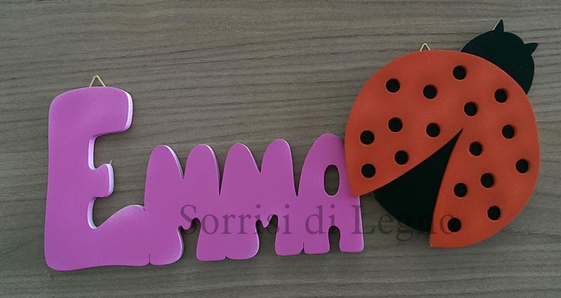Scritta con nome di Emma e coccinella colorata