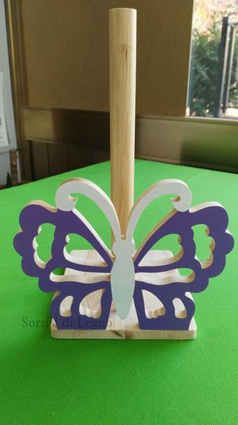 Portarotolo in legno di colore viola